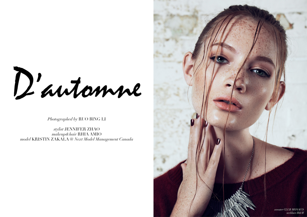 D'automne. New editorial in Glassbook.  Photo by Robin Li. Make-up and Hair by Rhia Amio. Styling by Jenn Zhao. Model Kristin at NEXT