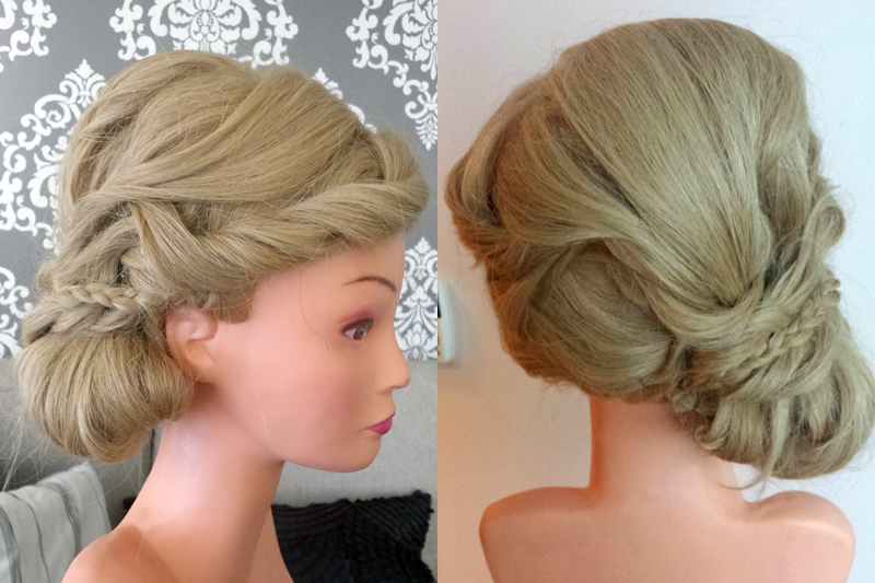 side low bun with braid